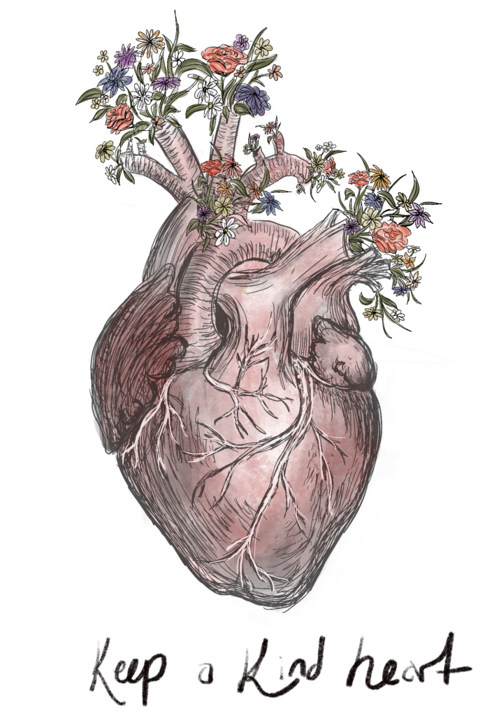 anatomical heart with flowers - Keep a Kind heart